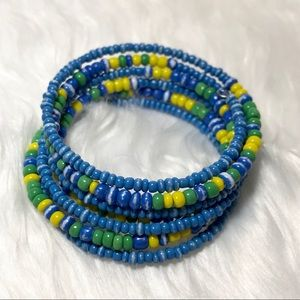 Jewelry - Beaded Memory Wire Wrap Bangle Blue Yellow Green